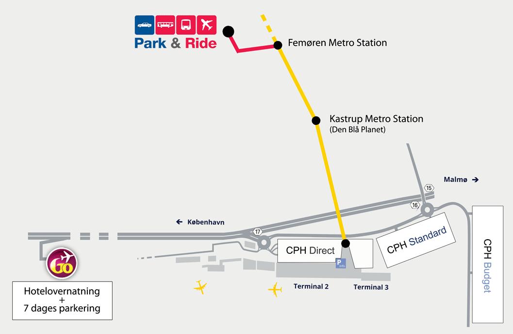 kort over lufthavnen kastrup
